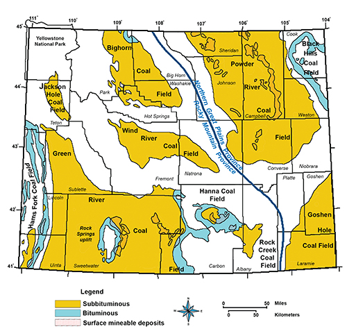Wyoming State Geological Survey - Us-coal-reserves-map