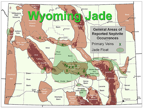 map showing jade occurrences